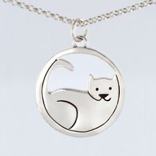 Sterling Silver Cat Pendant with Chain Cat Charm 16 inch Necklace Far Fetched