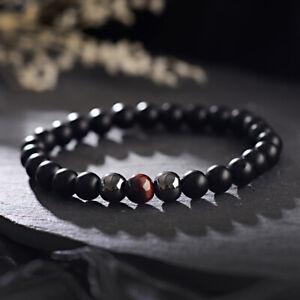 8mm Matte Onyx+Hematite+Red Tigers Eye Gemstone Beaded Men Women Charm Bracelets