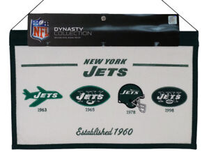 New York NY Jets AFL / LARGE 22x14 Wall Hanging Logo Banner featuring logos