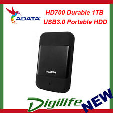ADATA HD700 Rugged 1TB USB3.0 Portable HDD Black; G Shock Sensor