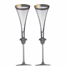 """VERSACE BY ROSENTHAL,GERMANY  """"D'OR""""  CHAMPAGNE FLUTE 2 PC'S SET, 12 INCH TALL."""