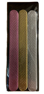 Metallic Color Rose-gold Gold Silver Nail File Emery Board 3-ct Pkg Brand-New