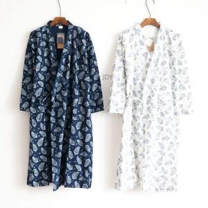 M/L Herren Kimono Yukata SCHLAFANZÜGE BAUMWOLLE WEICH Japanisch Bademantel Robe
