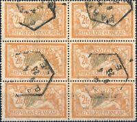 FRANCE - Bloc de 6x 2fr Merson Yv.145 - Oblitéré TB °
