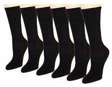 6-12 Pairs Women's Socks Cotton Crew Ladies Black Dozen Pack Size 9-11