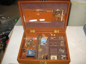 vintage junk drawer lot,men's jewelry box,sterling & gold filled,Freemason,10K
