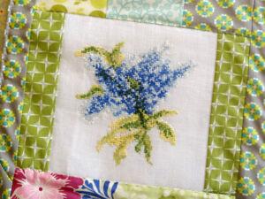 Blue Lilacs Cross Stitch Pattern Elegant Flowers Country Garden Stitchery
