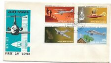 1972 Aviation set 4 Stamps FDC FDI 7 Jun 1972 Port Moresby PNG as Scan