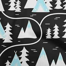 oneOone Cotton Flex Black Fabric Mountain Pattern Craft Projects-dYt