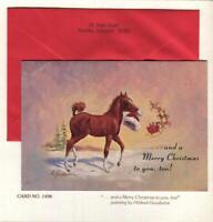 VINTAGE PALOMINO HORSE COLT SANTA CLAUS REINDEER HILDRED GOODWINE GREETING CARD