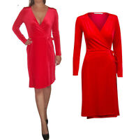 Red Long Sleeve Velvet Evening Wrap Dress Christmas Size 8 10 12 14 16 18 20 22