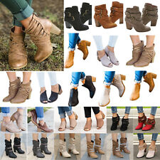 Women Lady Mid Block Heel Ankle Boots Zip Chunky Soft  Formal Booties Shoes Size