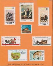 (V9-41) 1974 Poland 8stamps horses on stamp card (AP)