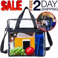 Clear Tote Bag Shoulder Straps Large Transparent Purse Strong Zippered Closure