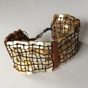 Vintage Mother of Pearl & Wood Hand crafted Bracelet Artisan