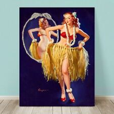 "VINTAGE Pin-up Girl CANVAS PRINT Gil Elvgren  36x24"" Hawaii Hula Skirt"