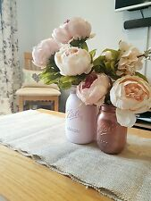 Painted Mason jars set of 2 - Pale Pink & Rose Gold - Weddings/Home Decor