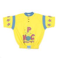 80s Vintage Short Sleeve Graphic Sweatshirt   Medium   Jumper Henley Retro Top