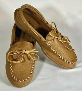 Minnetonka Moose Hide Classic Moccasin Slipper Natural 890 Men's Size 11