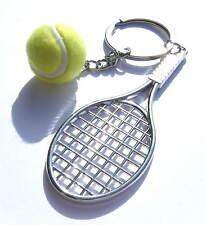 Tennis Racket Keyring Chrome Metal Racket 80x30mm Gift Boxed