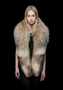 Giant Natural Finnraccoon Fur Handmade Boa Stole Shawl Wrap