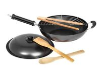 "Non Stick 12"" Fire Wok Set With Stainless Steel Grill Utensils and Lid"