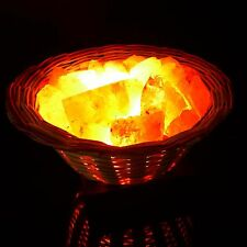 Wooden Basket Air Purifier Himalayan Crystal Rock Salt Lamp Light Home Decor