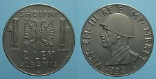 ALBANIA VITT. EMAN. III 2 LEK 1939 A.XVIII ROMA SPL NON MAGNETICA