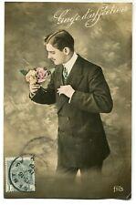 CPA - Carte Postale - Fantaisie - Portrait d'Homme - Fleurs (M7908)
