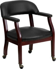 Black Vinyl Luxurious Conference Chair with Casters - B-Z100-BLACK-GG
