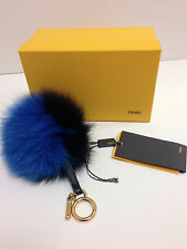 Authentic Fendi Bag Charm Fur Keychain Monster Royal Blue Black BNIB