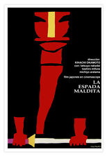 "Spanish movie Poster for Japanese film""Espada MALDITA""Samurai Japan Warrior art."