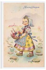 PCM P228/4 carte postale meilleurs voeux vintage Bonne Pâques 1950 petite fille