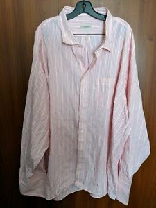 burberry london pink dress shirt BIG and Tall stripes size 22 MADE IN USA
