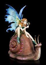 Elfen Figur reitet auf Schnecke - Slow Ride - Fantasy Fee Elfe Weinbergschnecke
