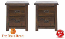 Bedside Pair of Cabinets Table Dark Wood 2 Drawer 45cm Wide Boston Bedroom Room