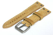 24MM Light Brown Leather Strap Stitched - High Quality - 120004