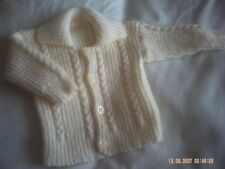 Hand Knitted Cream Baby Jacket With A Cute Rib Collar Size 0-3 Months.