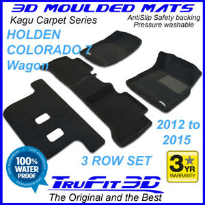 For Holden Colorado 7 Wagon 2012 - 2015 Genuine 3D Black Carpet Floor mats 3Rows