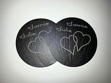 Pair of Personalised Welsh Slate Coasters in Gift Box for Lovers