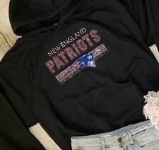 Pink New Womens New England Patriots Hoodie Sweatshirt Sz XL Swarovski Crystals