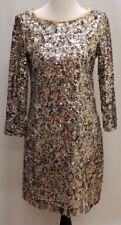 ELIE TAHARI AMELIE LEOPARD GOLD SEQUIN DRESS SZ M