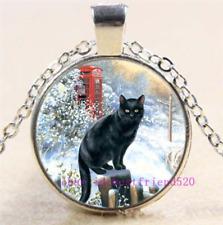 Cabochon Glass Chain Pendant Necklace Necklace Black Cat Photo Tibet Silver