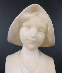Antique Alabaster Bust Beautiful Young Girl In Dutch Bonnet Unsigned NICE yqz