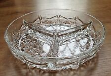 Clear glass Candy tray with three compartments 7 inch diameter, 1.5 inches tall