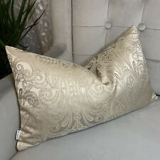 """Luxury Cushion Cover 12"""" x 20"""" Designer Embroidery Fabric , Taupe Decor"""