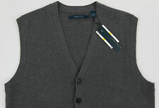 Men's PERRY ELLIS Gray Grey Cotton Cardigan Sweater Vest XLT TALL NEW NWT Nice!