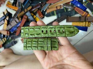 GREEN GENUINE Hornback ALLIGATOR,CROCODILE SKIN LEATHER WATCH STRAP BAND 24mm