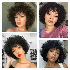 Afro Kinky Curly Wigs with Bangs for Black Women Short Soft Human Hair Natural