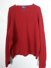 Polo Ralph Lauren Mens Sweater Size 2XL XXL Red Cable Knit 100% Cashmere FLAWED